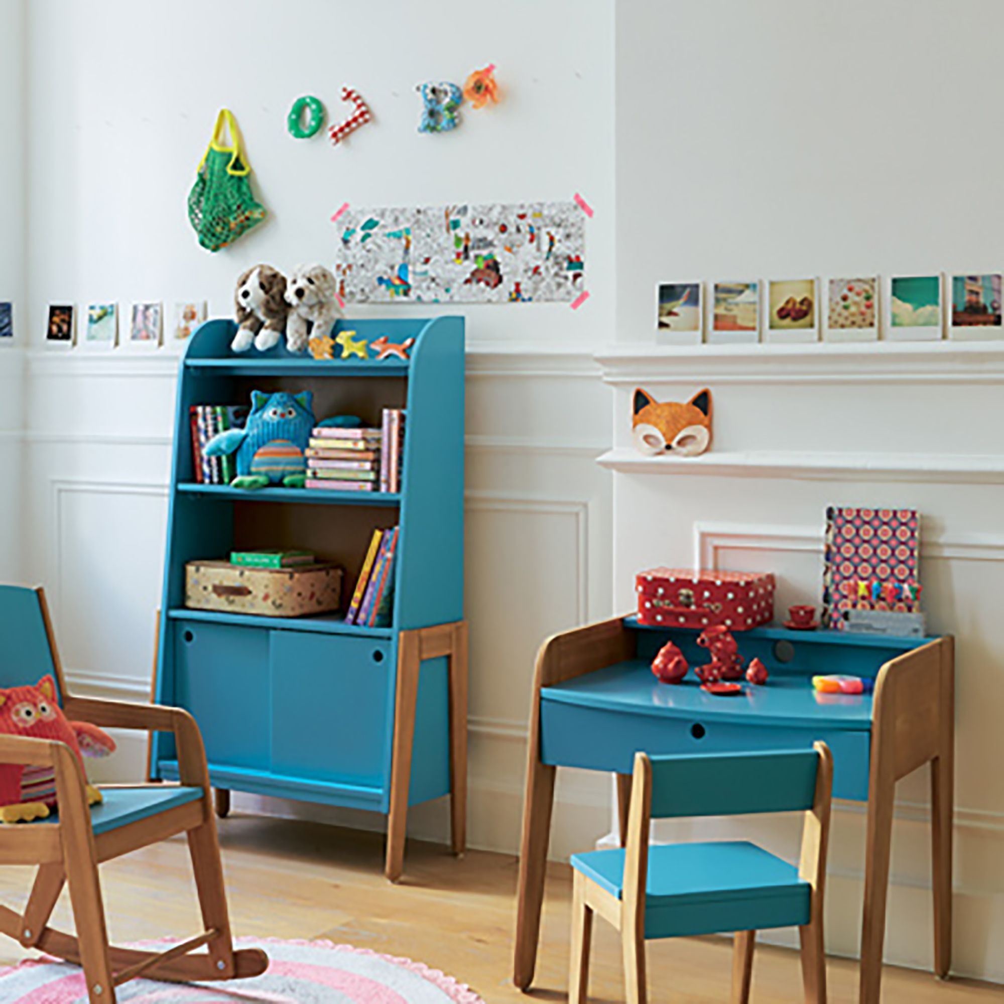 bibliotheque vintage bleue pour enfant vintage etageres de chambre d enfants meubles inspiration