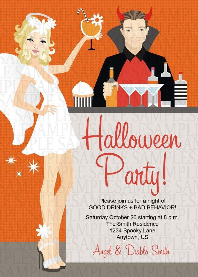 2b0111c9173d Angel and Devil Halloween Costume Adult Birthday Party Invitation ...