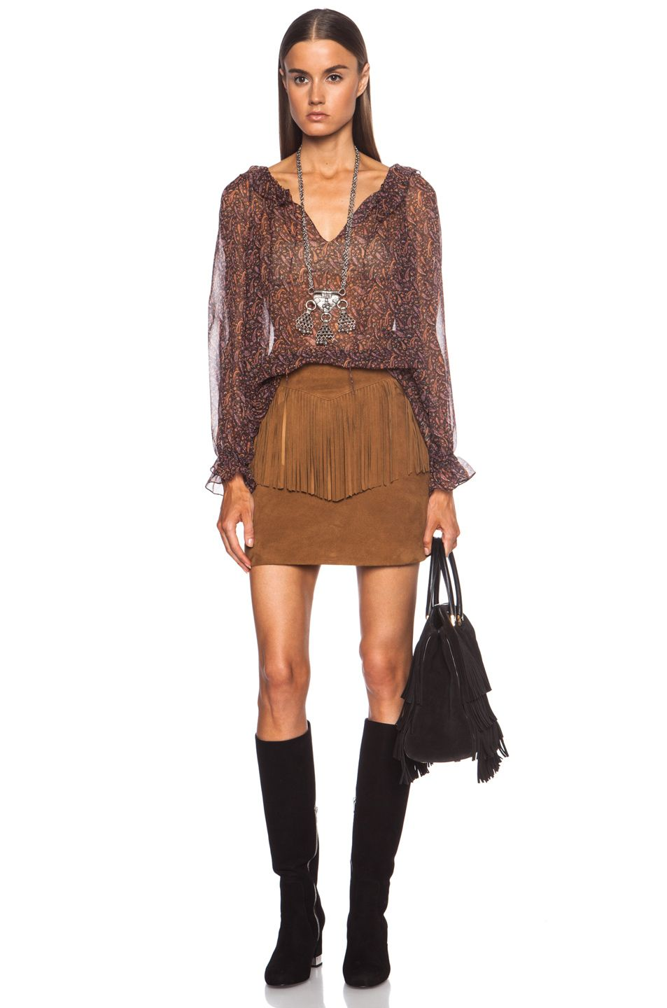 2f2923f1874 Saint Laurent A-Line Suede Fringe mini Skirt in Whisky │RENT this tan-brown  skirt on Style Lend, Downlaod the app: www.stylelend.com
