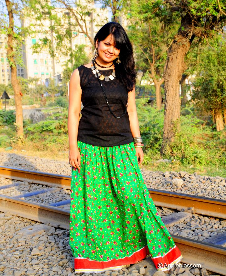fe610457d2 Spring Summer Trends 2014, Floral Skirts, Maxi skirt, Green skirt, silver  junk jewellery, appleblossom, Falguni Patel, Fashion blogger, Indi.
