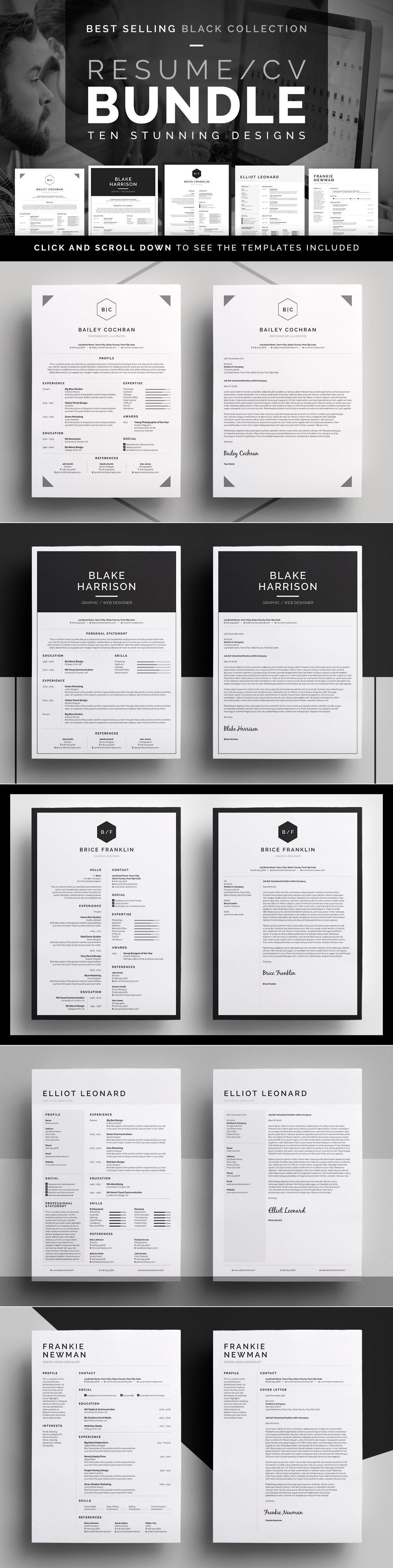 Resume/CV Bundle - 10 Modern, Professional designs with Matching ...