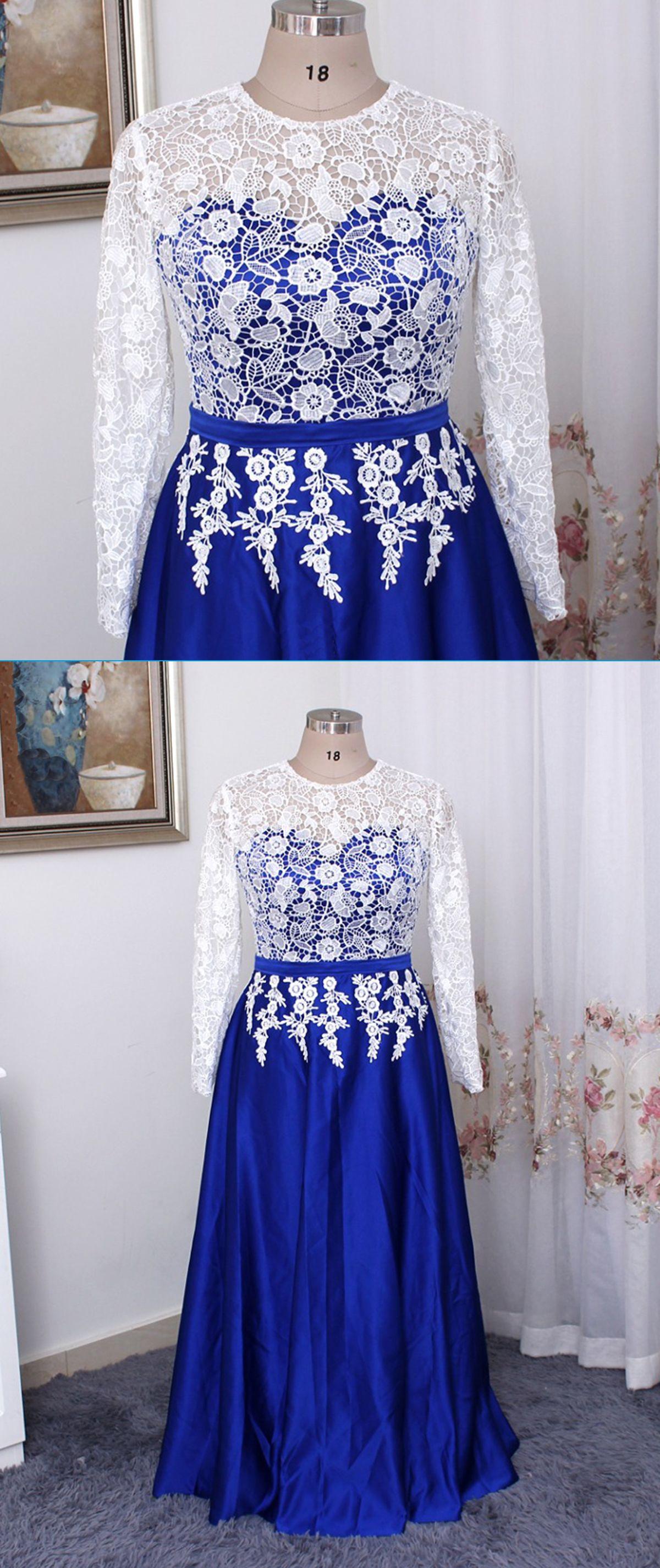 Royal blue satin long white lace plus size prom dress long sleeve