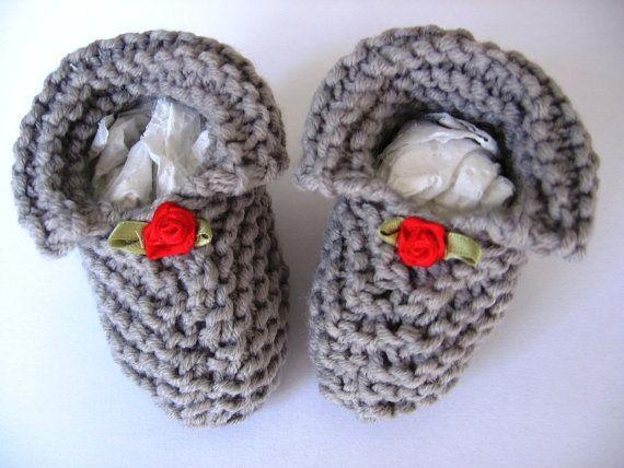 Baby winter wool socks booties handmade brown green dark gray ivory baby shower