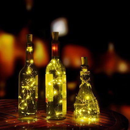 flaschenlicht agptek weinflaschen lichter 3 teilig kork. Black Bedroom Furniture Sets. Home Design Ideas