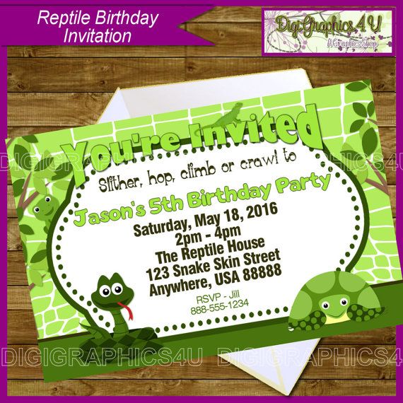 Printable Reptile Birthday Invitation By DigiGraphics4u On Etsy