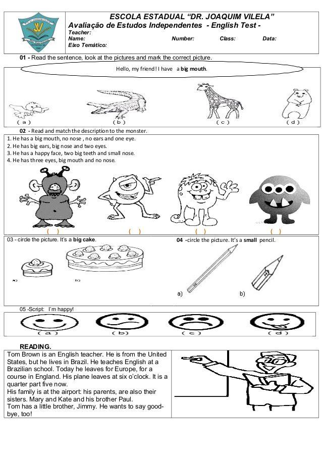 Prova De Ingles 1 Prova De Ingles Atividades Em Ingles Para