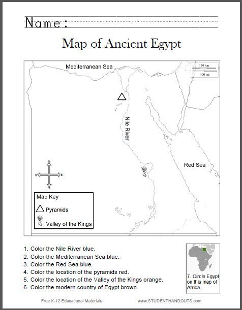 Ancient Egypt Map Worksheet Map of Ancient Egypt Worksheet for Kids, Grades 1 6 | Student