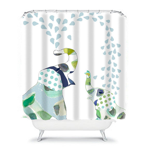 Kids Shower Curtainelephant By OzscapeHomeDecor On Etsy