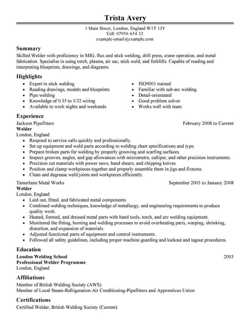 Best Welder Resume Example Livecareer Awesome Best Welder Resume Example Livecareer Welding Engi In 2020 Resume Skills Resume Examples Resume Cover Letter Examples