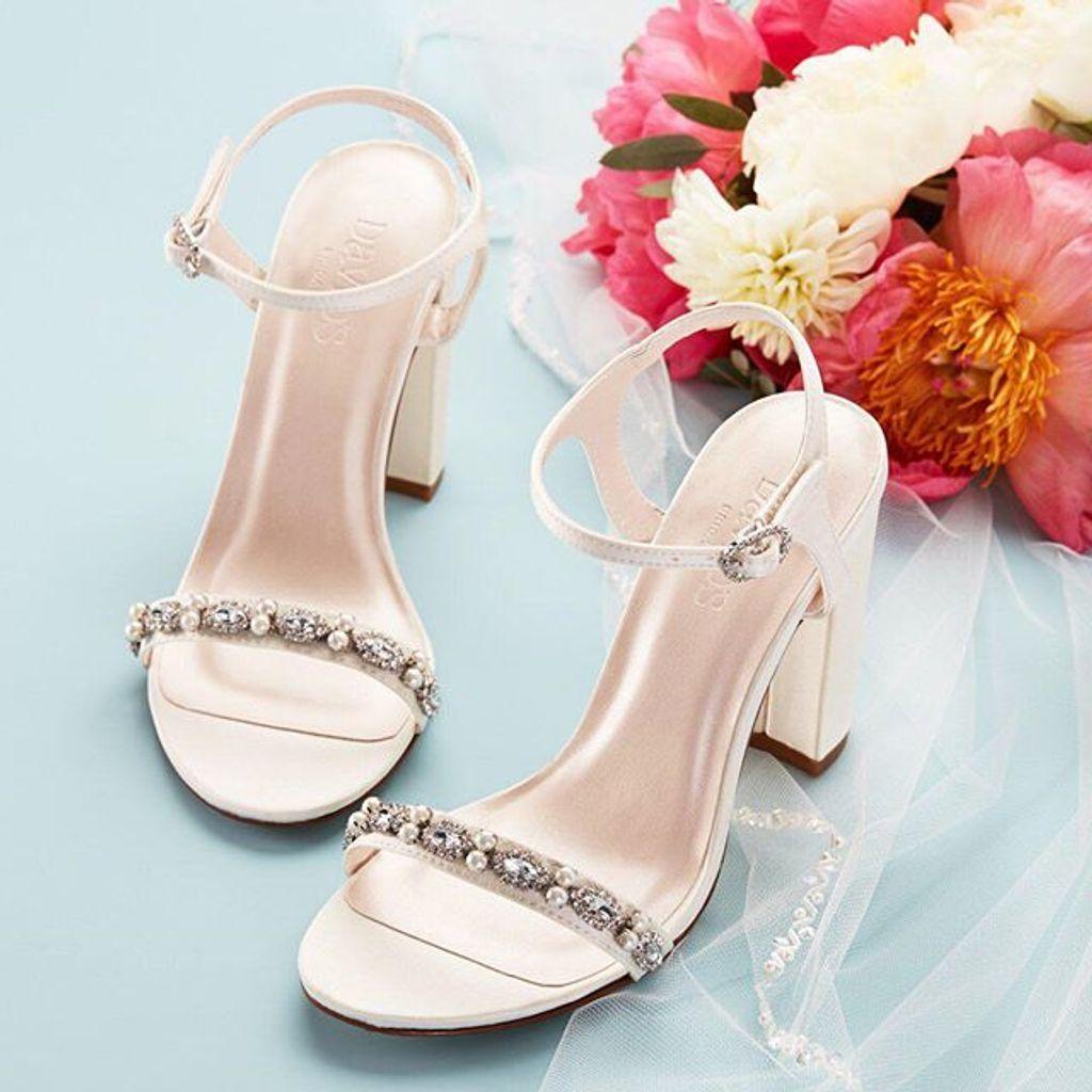 74acf0d94 Embellished Satin Block Heel Sandals