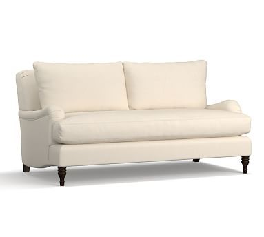 "Carlisle Upholstered Loveseat 70"" with Bench Cushion, Polyester Wrapped Cushions, Sunbrella(R) Performance Sahara Weave Ivory"