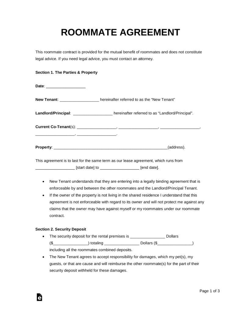 Free Roommate Room Rental Agreement Template Pdf Word Eforms In Bedroom Rental Agreement T Roommate Agreement Room Rental Agreement Roommate Agreement Template