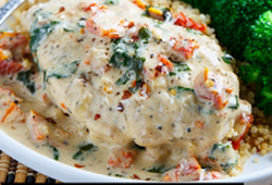 Cheesy Garlic Butter Mushroom Stuffed Chicken - SundayRecipes #grilledchickenparmesan