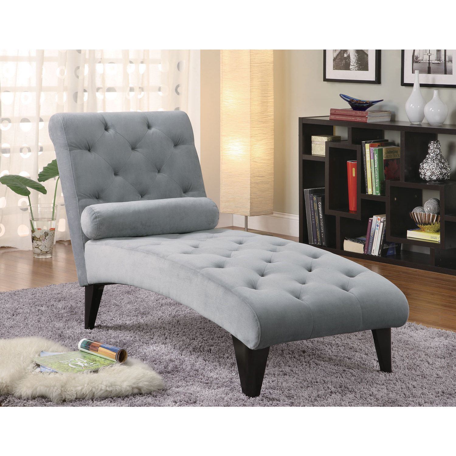 Velour Grey Chaise Lounge Chair 27 50 X 64 X 51 Tufted