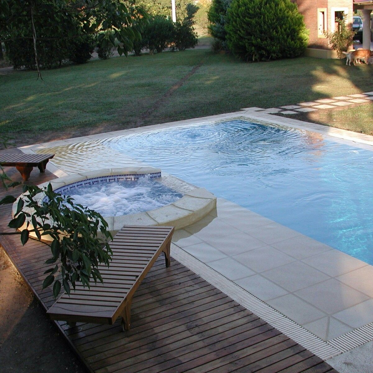 Swimming Pool Rectangular Shape With A Round Shape Jacuzzi Made