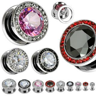 Pair of Screw Fit CZ Gold Plated Flesh Ear Tunnels Plugs Gauges Earlets Earrings