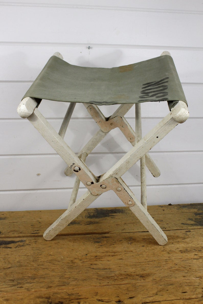 Vintage Wooden Folding Luggage Rack Crusty Cool Stool #pictureplacemeant