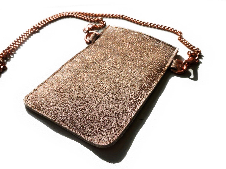 Crossbody Handyhulle Handyumhangetasche Brustbeutel Rosegold Kette Echt Leder Hulle Cross Body Bag Le Leather Crossbody Bag Crossbody Bag Leather