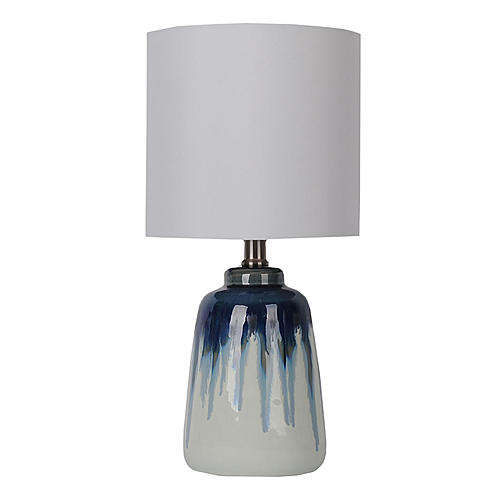 Sutton Rowe 16 25 X 8 Ceramic Accent Table Lamp Blue Ombre Drum Lampshade Lamp Blue Ombre