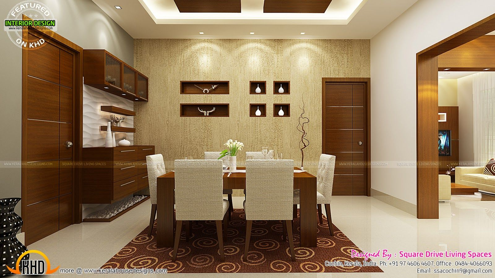 Kitchen Dining And Living Room Kerala Home Design Floor