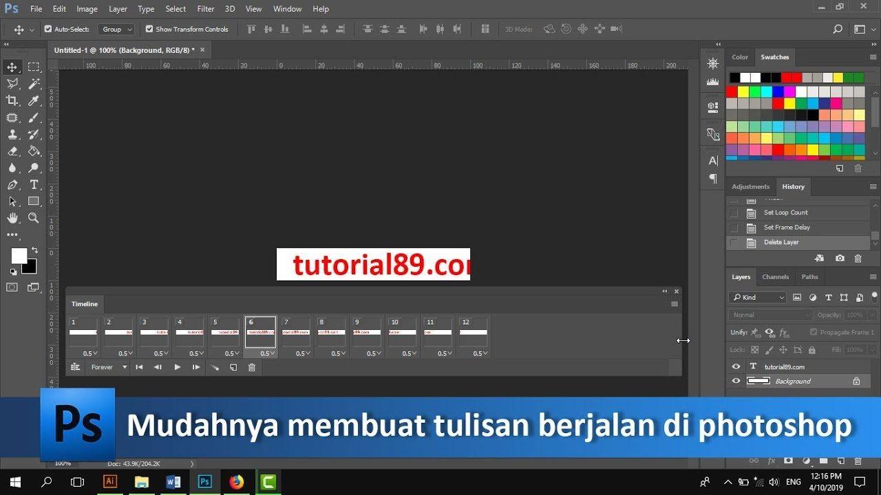 Cara Membuat Tulisan Animasi Berjalan Di Photoshop Tutorial89 Tutorial Photoshop Di Video Tutorial Kali Ini Kita Akan Belajar Mem Photoshop Belajar Tulisan
