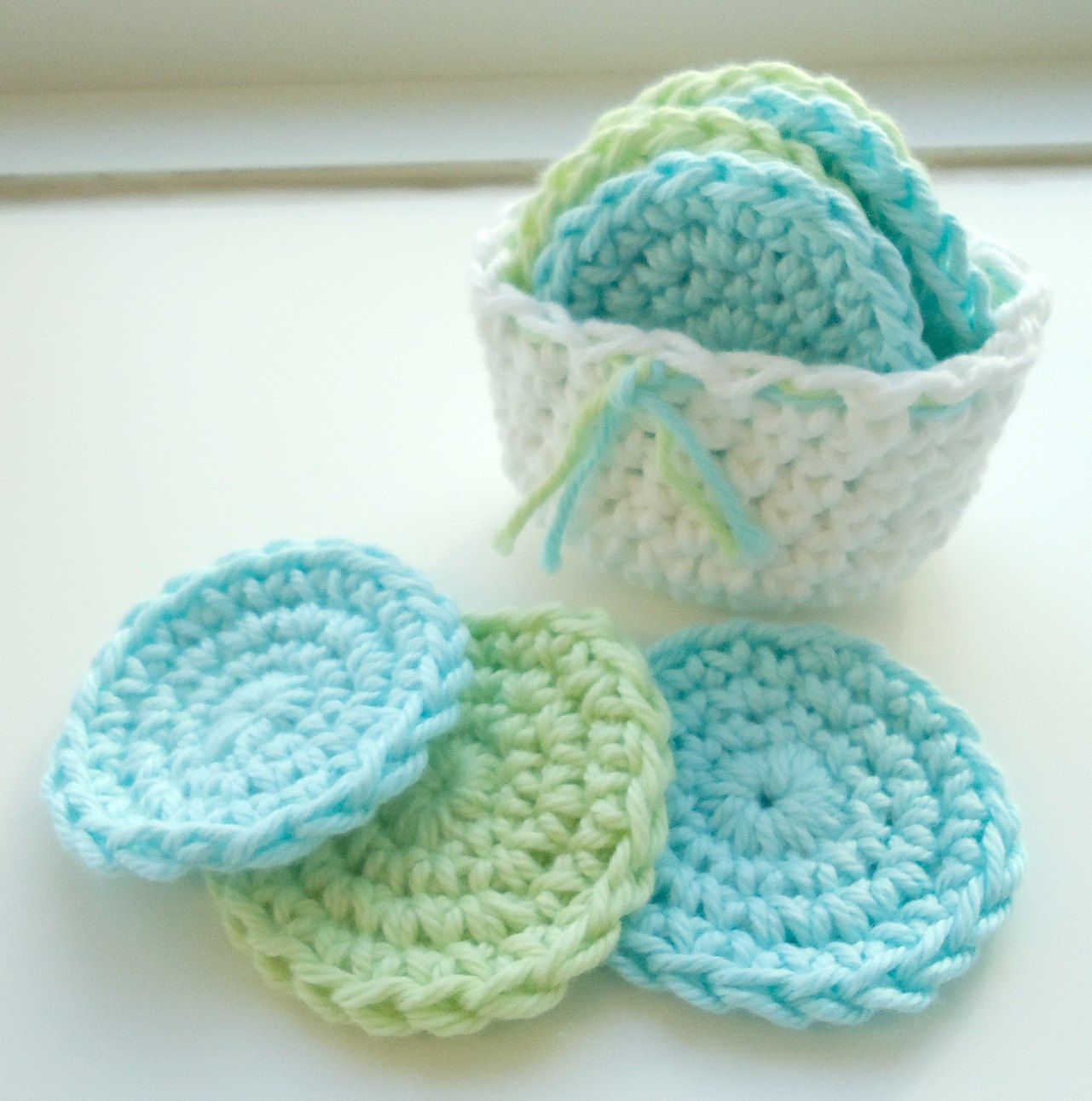 Crochet Scrubbies with Crochet Basket - Set of 7 - Aqua Blue, Soft ...