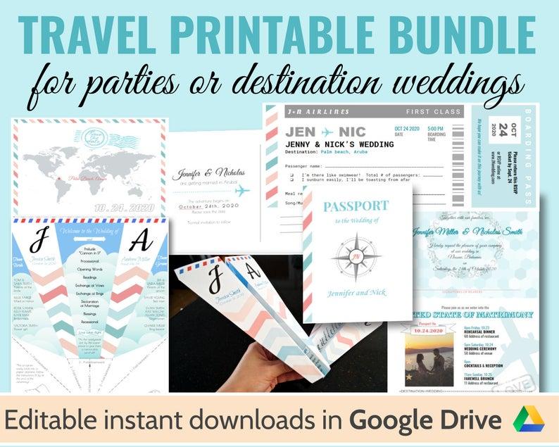Printable Destination Travel Wedding bundle invitation