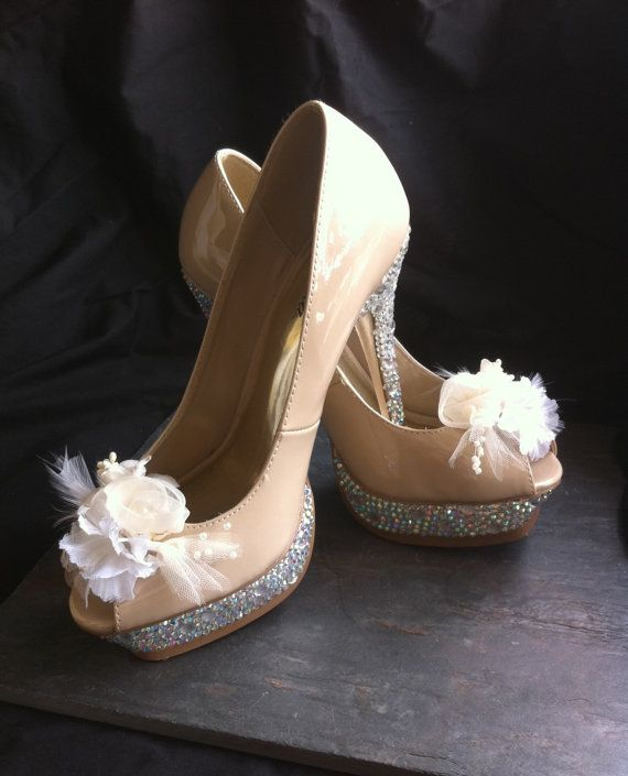 cd890c22165 Burlesque Shoes Movie Beige Peep Toe Rhinestone Pumps Christian ...