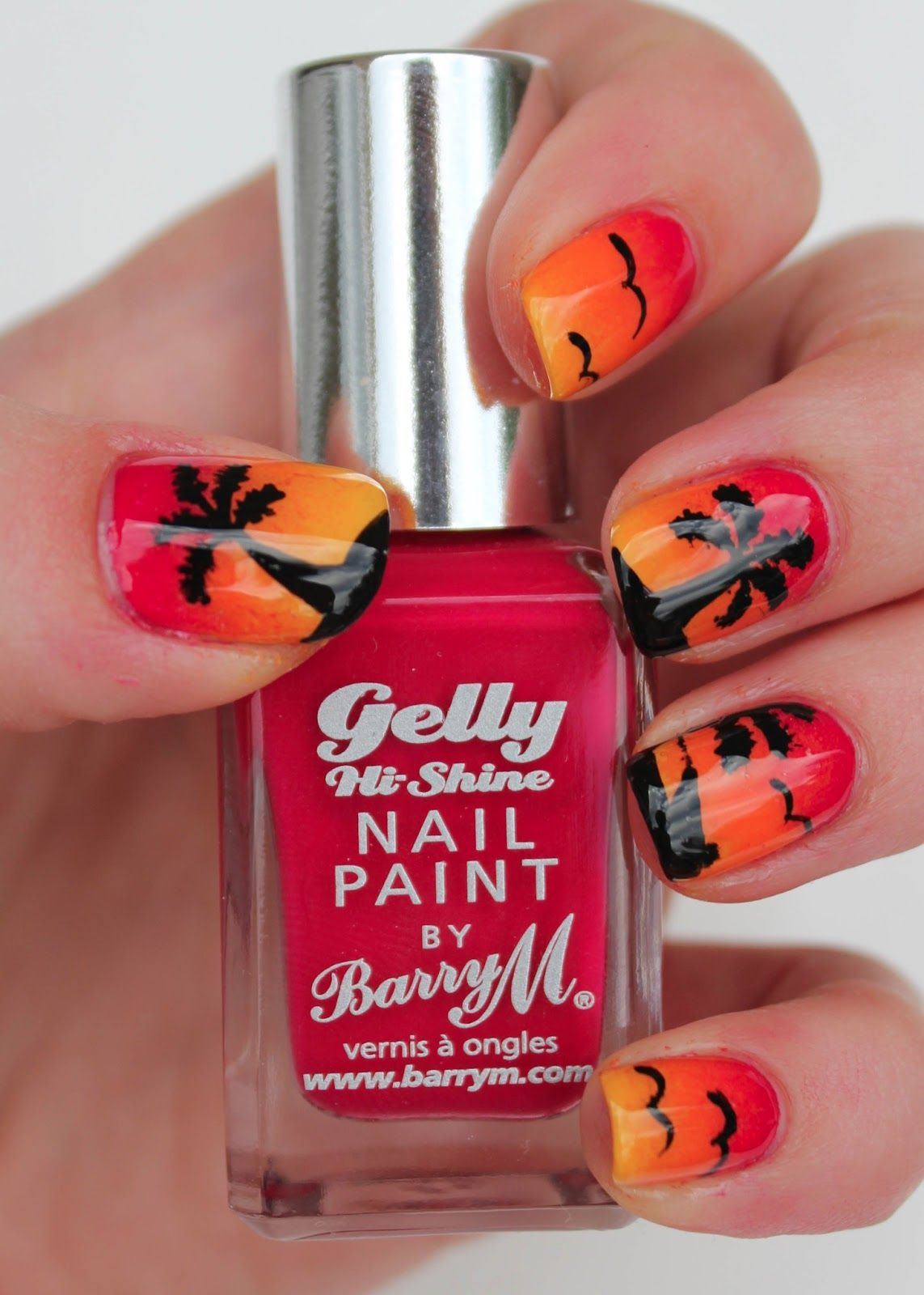 Sunset Nail Art With Barry M Pomegranate Nails Xii Pinterest