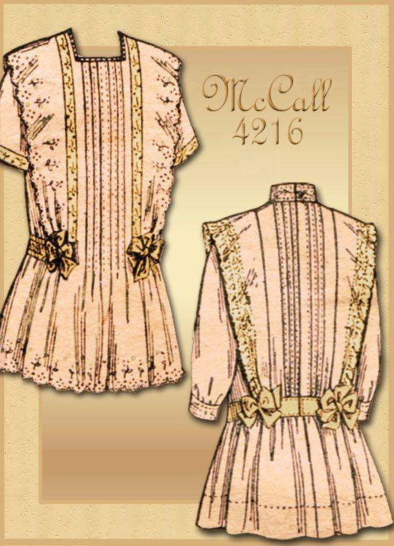 Early 1900s Girls Vintage Dress Pattern McCall 4218 Edwardian Turn ...