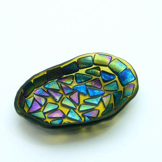Decorative Colored Glass Bowls Unique Black Fused Glass Soap Dish Bowl Plate Amber Iridescent