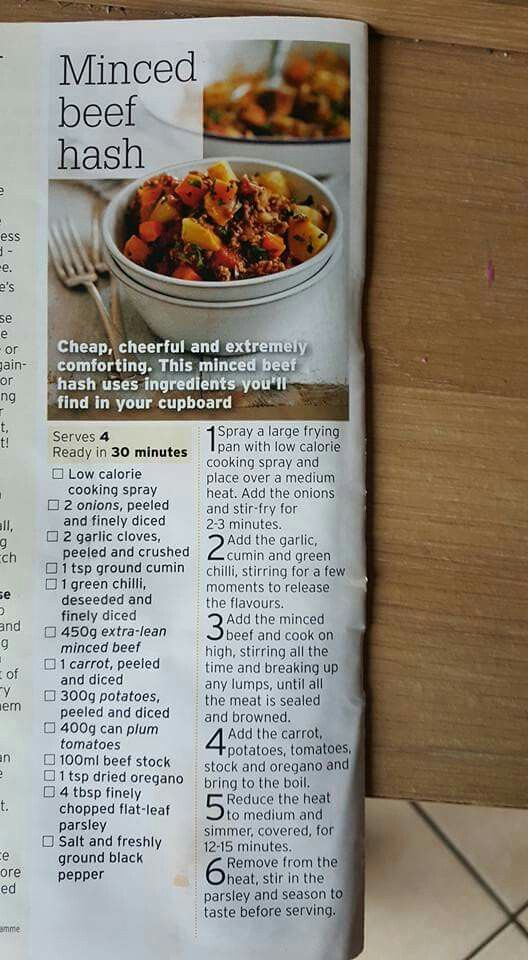 Minced Beef Hash Recipes In 2019 Slimming World Minced Beef Recipes Slimming World Beef