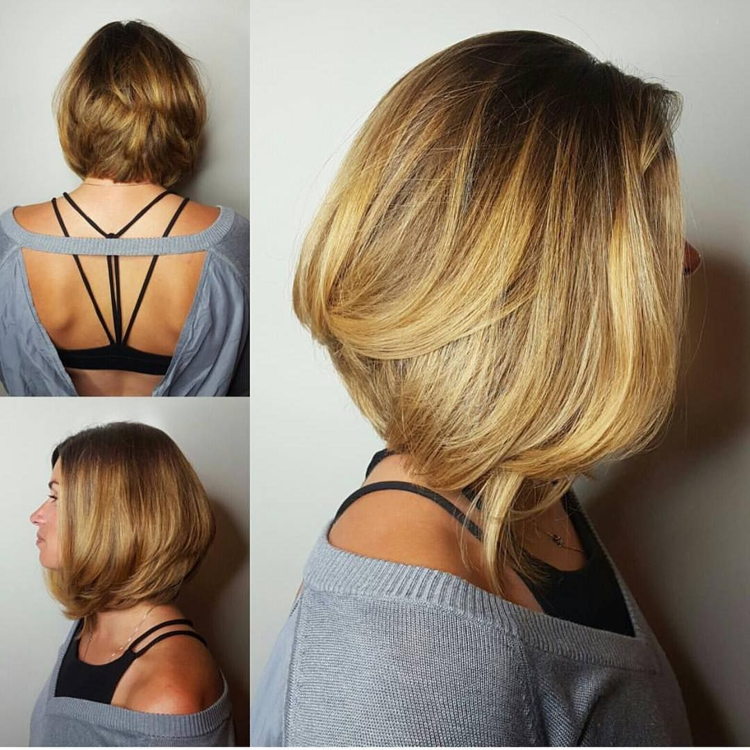 Blowout A-Line Bob with Body and Highlights on Blonde Hair - The