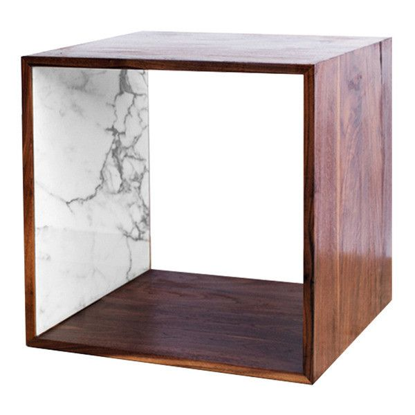 2131 Collection Walnut and Marble Storage Cube ($595) ❤ liked on Polyvore featuring home, furniture, storage & shelves, walnut wood furniture, marble furniture, cube furniture, storage furniture and marquetry furniture