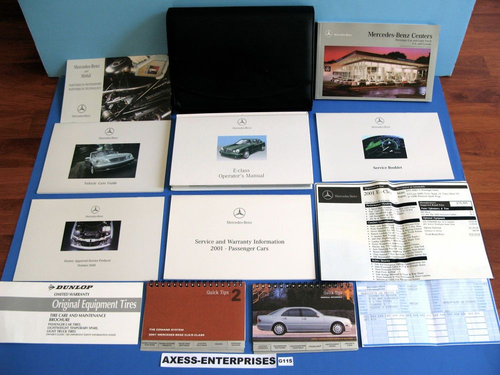 2001 Mercedes E 55 E55 Amg Owners Manuals Navigation Operator Books Package G115 E55 Amg Mercedes Owners Manuals