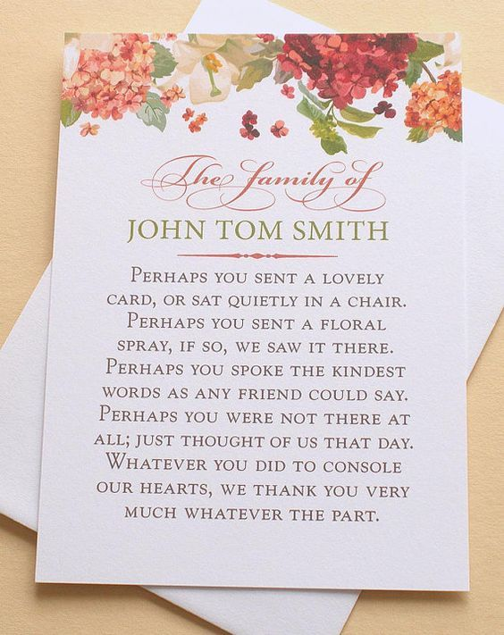 Funeral Thank You Cards with Hydrangeas - Personalized - FLAT Cards ...