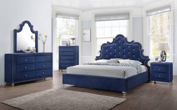 Caroline Navy Velvet Silver Nailhead Crystal Tufted Master Bedroom
