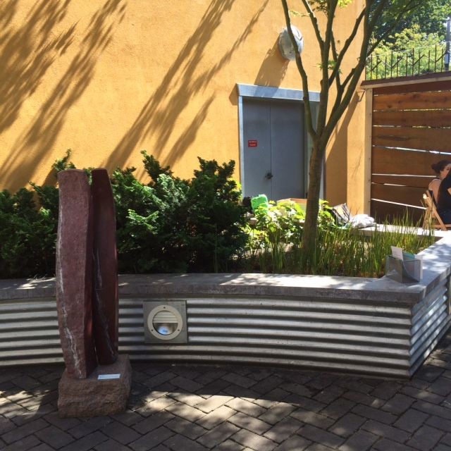 Corrugated Metal Retaining Wall With Concrete Top Layer Landscaping Retaining Walls Concrete Patio Small Brick Patio