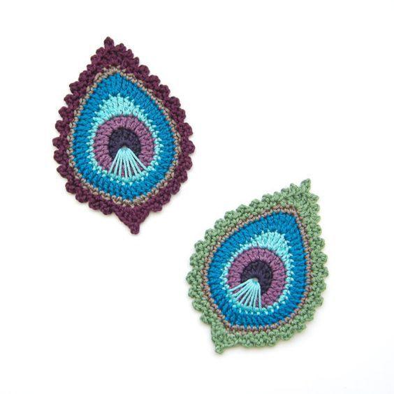 Crochet PATTERN Peacock Feather motif \