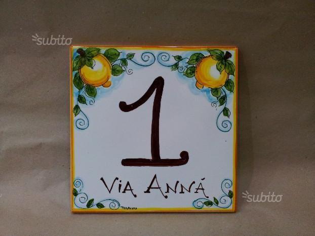Targa numero civico in ceramica di caltagirone number