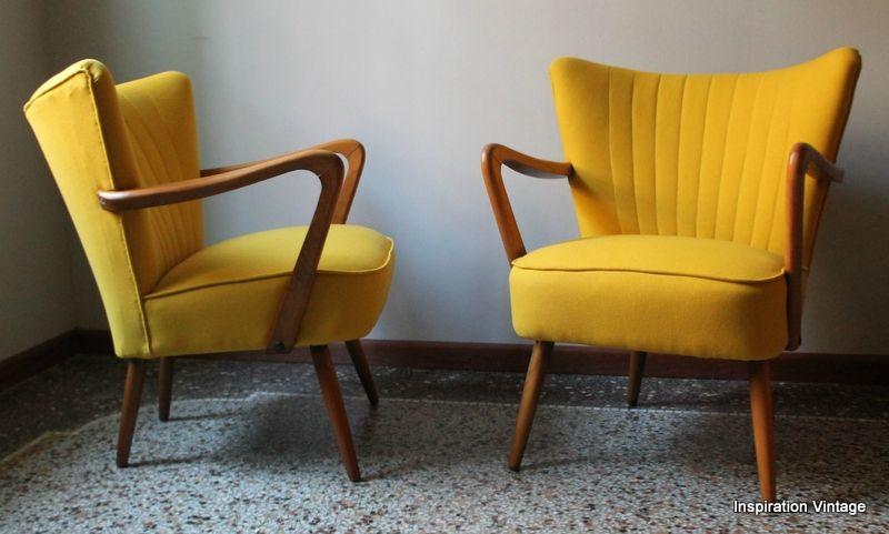 Fauteuil Jaune Vintage fauteuils cocktail à bras 50's - inspiration vintage | pinterest