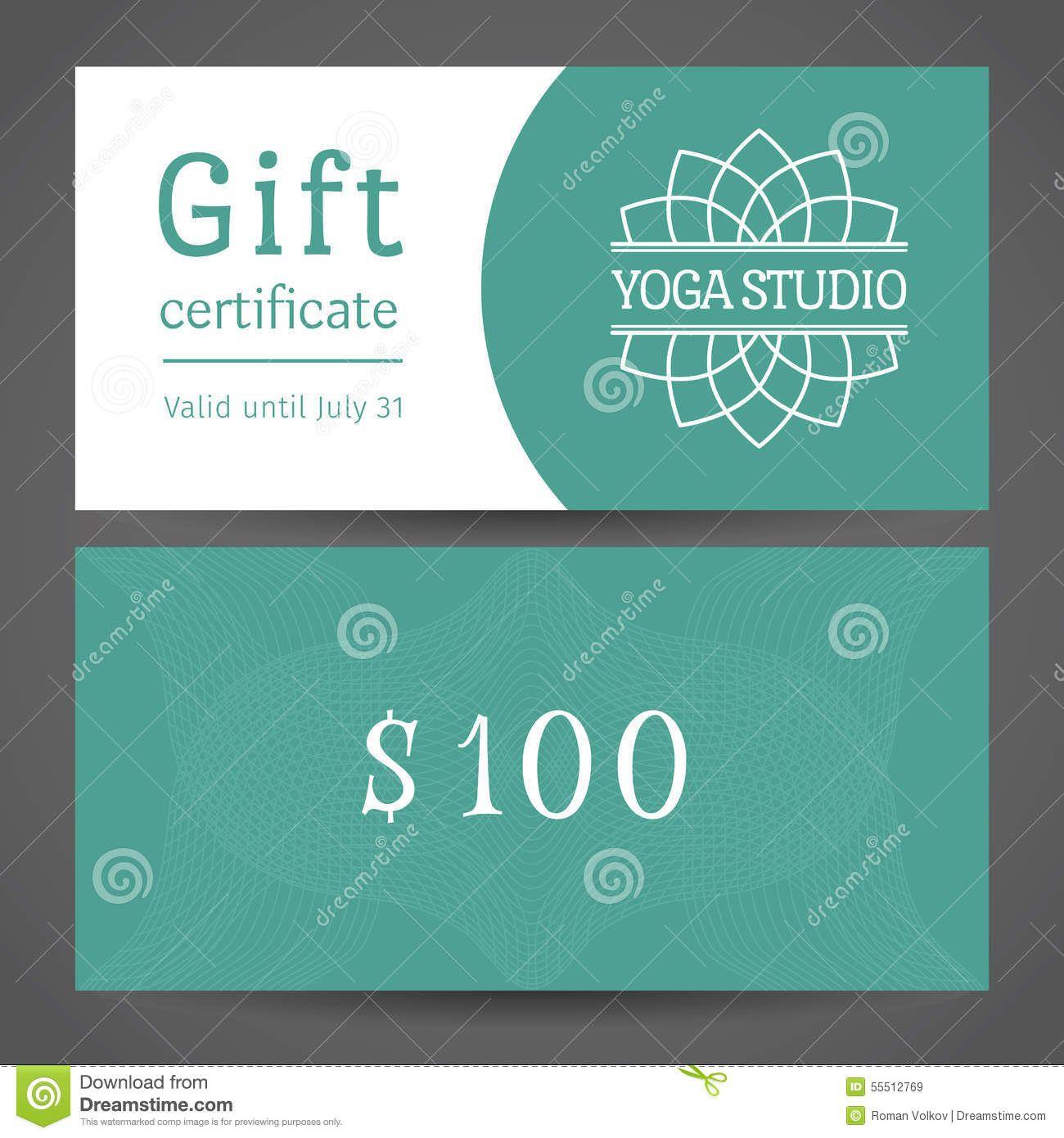 Yoga Studio Vector Gift Certificate Template Stock Vector Image 55512769 Gift Certificate Template Certificate Templates Yoga Gifts Yoga gift certificate template free