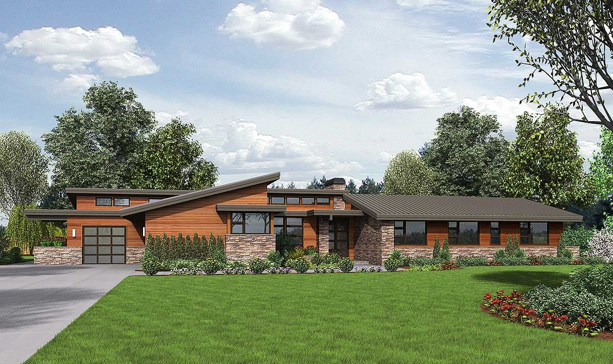 Plan 69510am Stunning Contemporary Ranch Home Plan Ranch House Plans Ranch Style Home Architectural Design House Plans