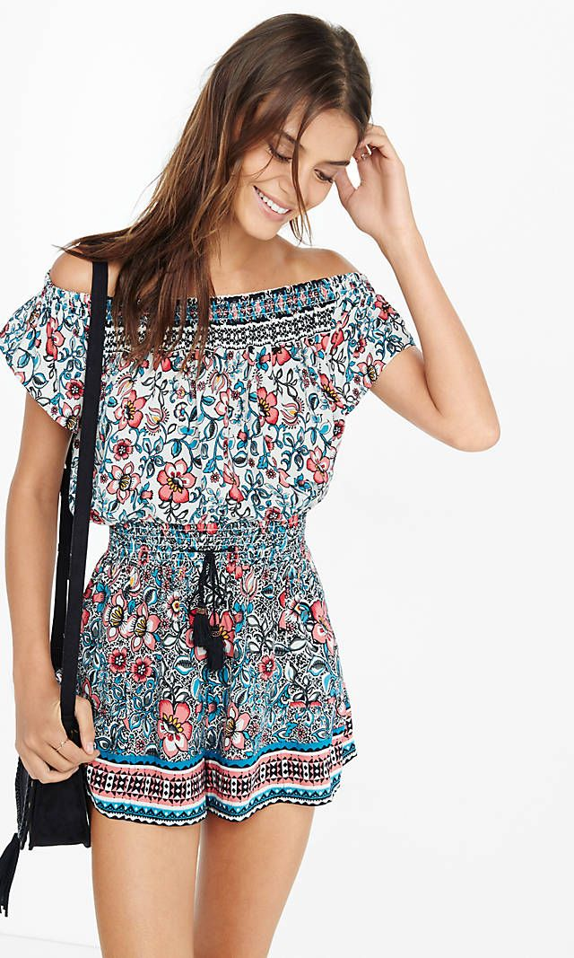 43f5d6daba13 Folksy Floral Print Off The Shoulder Romper from EXPRESS