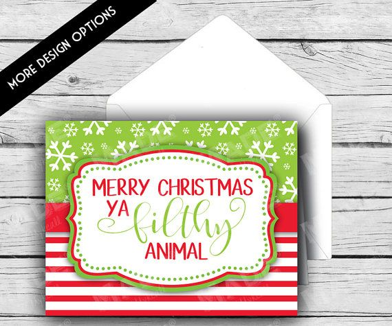 HOLIDAY NOTE CARD Set Merry Christmas Ya Filthy by MadebyMykeall