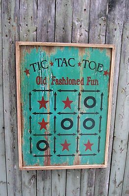 Reproduction Wooden Board Game Tic Tac Toe Vintage Wall Art Home ...