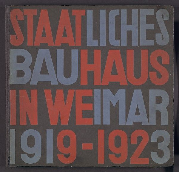 """Staatliches Bauhaus in Weimar 1919-1923"" Book Designer: Walter Gropius (German, Berlin 1883–1969 Boston, Massachusetts) Designer: Herbert Bayer (American (born Austria), Haag 1900–1985 Montecito, California) Date: 1923 Medium: Book-printed halftone, photographs and lithograph Dimensions: H. 9 3/4, W. 10, D. 1 1/16 in. (24.8 x 25.4 x 2.7cm) Classification: Books Credit Line: Cynthia Hazen Polsky and Leon B. Polsky Fund, 2001 Accession Number: 2001.392"