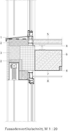 Detailschnitt vertikal, M 1 20 Fassadenschnitt