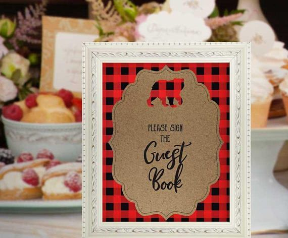 Guest book sign baby shower lumberjack baby shower table baby guest book sign baby shower lumberjack baby shower table solutioingenieria Image collections