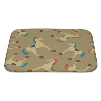 World Menagerie Capodanno Retro Styled Toy Horse Pattern Bath Rug | Wayfair #horsepattern